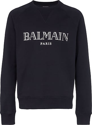 Balmain Crew neck logo cotton sweatshirt - Blue