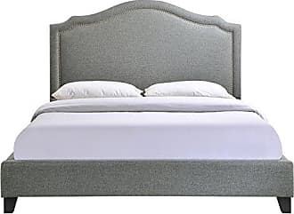 ModWay Modway Charlotte Upholstered Fabric Queen Bed With Nailhead Trim in Gray