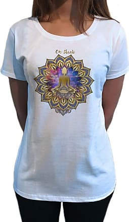 Irony Womens Top Om Shanti Buddha Chakra Meditation Space Yoga Lotus TS1125 (White, Small)