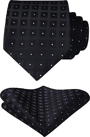 Hisdern Mens Check Dot Tie Handkerchief Wedding Party Necktie & Pocket Square Set Black
