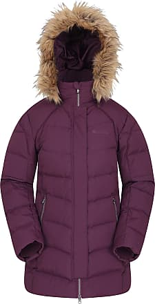 Mountain Warehouse Isla II Womens Down Jacket - Fur Hoodie, Two Zipped Pockets, Waterproof Winter Coat -Thermal Tested -50 - Ideal for Cold Weather Dark Purple 22