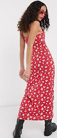 Noisy May Vestito lungo a fiorellini con spalline sottili-Rosso