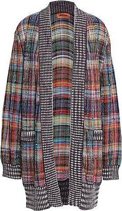 Missoni Missoni Woman Crystal-embellished Checked Cotton-blend Cardigan Violet Size 40