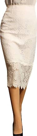 Yonglan Womens Bodycon Pencil Skirt Slim Solid Color Mesh Lace Midi Skirts White XXL