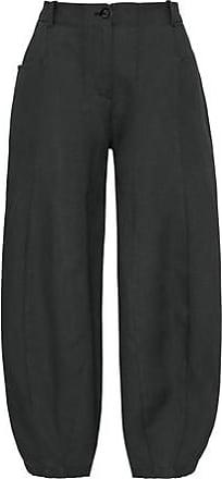 Enna 7/8-Leinenhose mit weitem Bein, schwarz