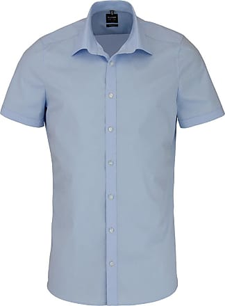 Olymp Level Five Mens Short-Sleeved Body Fit Shirt - Blue - 18