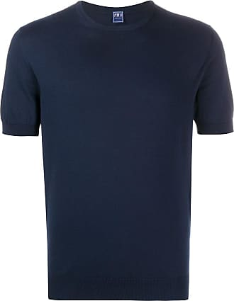 Fedeli Camiseta lisa com decote careca - Azul