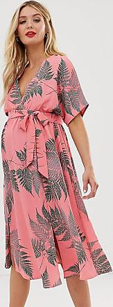 Glamorous Bloom Midi-Freizeitkleid mit Bindegürtel und mit Palmen bedruckt-Rosa