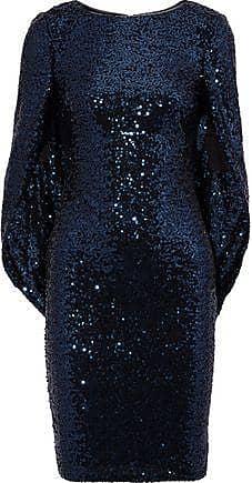 Badgley Mischka Badgley Mischka Woman Cape-effect Sequined Tulle Dress Navy Size 8