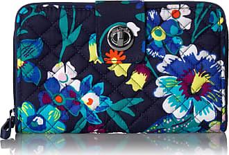 Vera Bradley Womens Iconic RFID Turnlock Wallet, Signature Cotton, Moonlight Garden, One Size