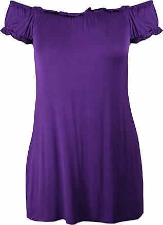 Purple Hanger Ladies New Plain Off Shoulder Boho Womens Elasticated Gathered Long Gypsy Summer Top Purple Size 22 - 24