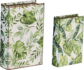 A & B Home Botanical Green and White Book Boxes - Set of 2 - 44103