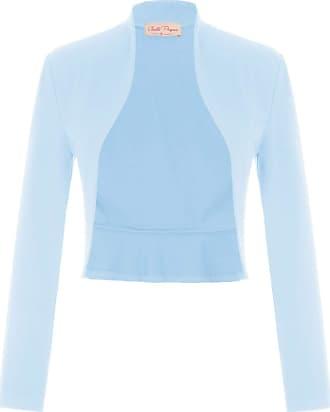 Belle Poque Elegant Ladies Party Outfits Long Sleeve Tops Womens Plain Shrug Cardigan Light Blue(788-9) X-Large