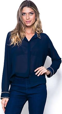 c633c4bae 101 Resort Wear Camisa 101 Resort Wear Crepe Bordado Manga Longa  Azul-Marinho