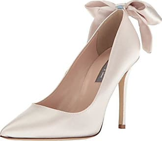 f1d5752e3 SJP by Sarah Jessica Parker Womens Lucille Pointed Toe Bow Pump, Moonstone  Satin, 39.5