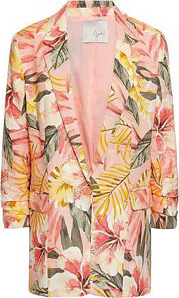 Joie Joie Woman Ruched Printed Linen Blazer Multicolor Size 00