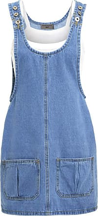 SS7 New Womens Denim Pinafore Dress, Blue, Sizes 6 to 16 (UK - 10, Denim Blue)