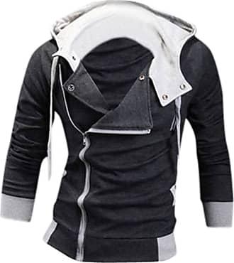 Jeansian Mens Casual Hooded Jacket Slim Fit Outerwear Sweatshirt Tops Coat Zip Sport 8945 Darkgray XS