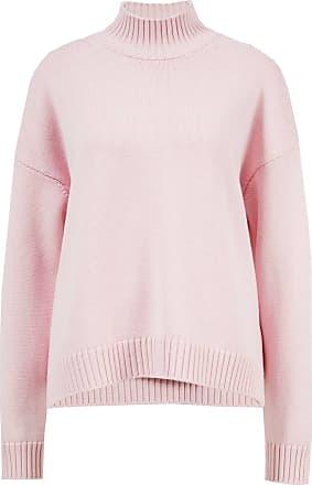 Ganni Woll-Pullover mit Rollkragen Rosé