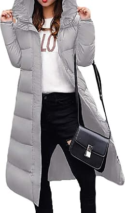 VITryst Womens Winter Solid Down Jacket Zip Quilted Hooded Long Puffer Down Coat,Gery,X-Large