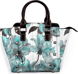 Browncin Blue Flower Floral Pattern With Roses Watercolor Colorful Abstract Arrangement Black Detachable Fashion Trend Ladies Handbag Shoulder Bag Messenger Ba