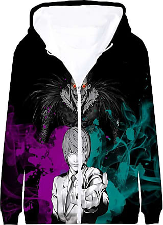 Haililais Death Note Pullover Coat Long Sleeve Printed Hooded Outerwear with Zipper Anime Casual 3D Parent-Child wear Unisex (Color : A08, Size : 185)