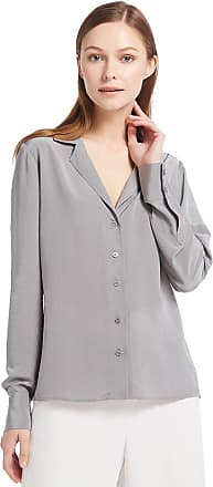 LilySilk Womens 100 Silk Blouse V Neck Long Sleeve Ladies Top Shirt 18 Momme Pure Silk Classy Grey Size 18/XL