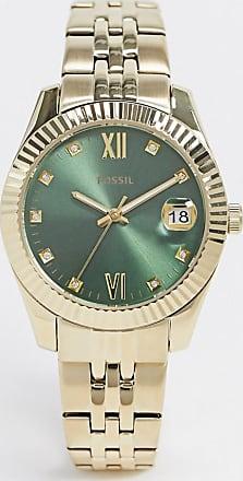 Fossil mini scarlett gold metal bracelet watch with green dial ES4903