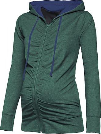 Happy Mama Womens Maternity Hoodie Sweatshirt Zip Front Long Sleeves. 263p (Green Melange & Jeans, UK 10, L)