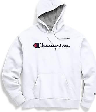 Champion Mens Powerblend Graphic Hoodie Hooded Sweatshirt, White, Large