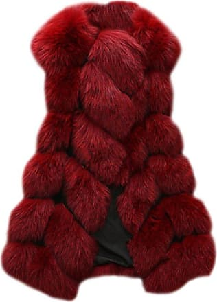 ZongSen Womens Faux Fur Vest Gilets Coat Jacket Sleeveless Long Waistcoat Wine Red XXL