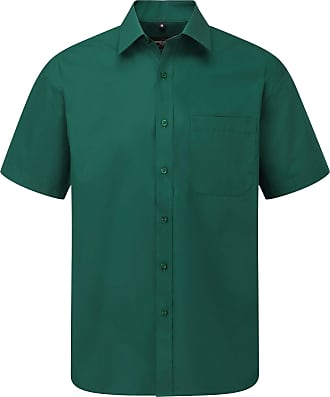 Russell Athletic Russell Collection Mens Short Sleeve Poly-Cotton Easy Care Poplin Shirt (17-17.5) (Bottle Green)