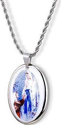 Design Medalhas Pingente Medalha Nossa Senhora De Lourdes Ouro Branco Pequena