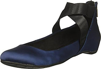 Kenneth Cole Reaction Womens Pro-time Ballet Flat with Elastic Ankle Strap, Back Zip-Satin, Navy, 9 M US