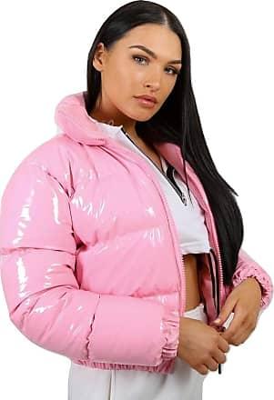 Momo & Ayat Fashions Ladies PVC Leather Cropped Puffer Jacket UK Size 6-14 (Pink, UK 10 (EUR 38))