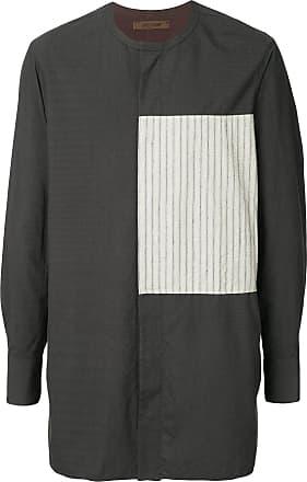 Ziggy Chen striped panel long line shirt - Grey
