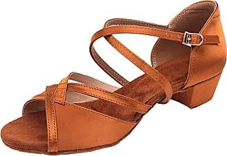 Insun Girls Ballroom Dance Shoes Latin Salsa Performance Shoes Suede Sole Brown Satin 1 12.5 UK Child