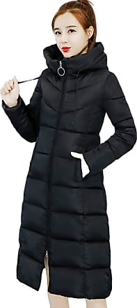 JERFER LEXUPE Women Autumn Winter Warm Comfortable Coat Casual Fashion Jacket Collar Long Jackets Warm Thicken Padded Hooded Coat Black