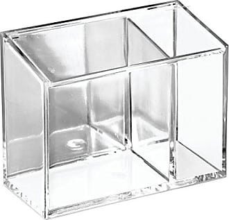 InterDesign AFFIXX, Peel-and-Stick Strong Self-Adhesive Clarity Cosmetic Organizer Box for Vanity to Hold Makeup, Beauty Products - Clear/Mirrored Accent