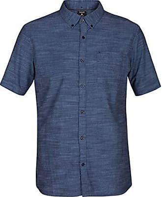 Hurley Mens One & Only Textured Short Sleeve Button Up, Obsidian, S