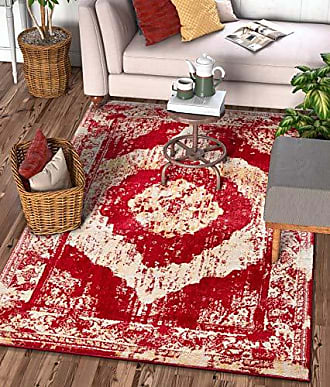 Well Woven 22104 Sydney Vintage Berkshire Red Modern Distressed Medallion Area Rug 33 x 47
