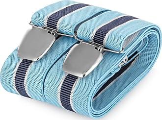 Decalen Mens braces wide adjustable and elastic suspenders Y shape with a very strong clips - Smart Casual Menswear (Navy Blue 2)(Size: One Size)