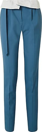 Gabriela Hearst Beatrice Fold-over Wool Straight-leg Pants - Teal