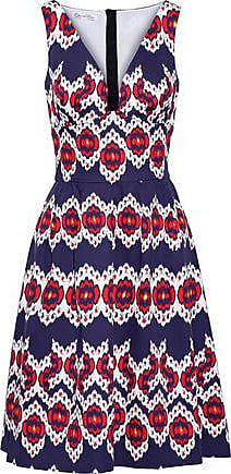 Oscar De La Renta Oscar De La Renta Woman Pleated Printed Cotton Dress Indigo Size 4