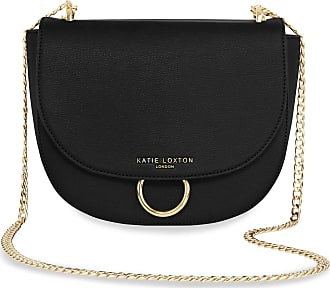 Katie Loxton Lucia Vegan Leather Convertible Chain Strap Shoulder Cross Body Saddle Bag Black Size: 7.5 x 9 x 3.75