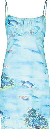 Staud Vestido midi com estampa Bell island - Azul