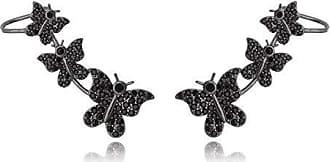 Lua Mia Semijoias Ear Cuff com Borboletas Cravejadas em Zircônia Negra - Semijoia Folheada a Ródio Negro Lua Mia Joias