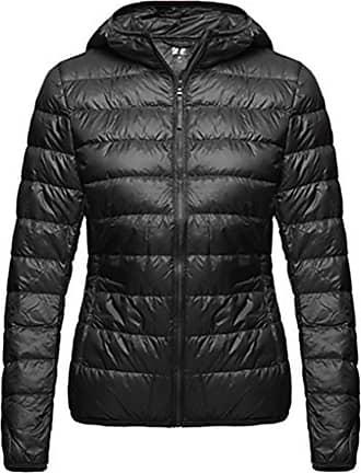 Wantdo Womens Hooded Packable Ultra Light Weight Short Down Jacket Outdoor Coat Black Medium