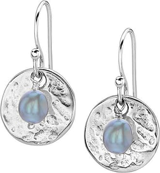 Dower & Hall Hammered Disc & Dove Grey Freshwater Pearl Earrings