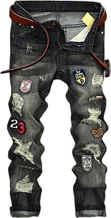 Vdual Mens Ripped Distressed Regular Slim Vintage Style Fit Patchwork Straight Leg Denim Jeans Pants Grey